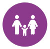 icon of family on purple background